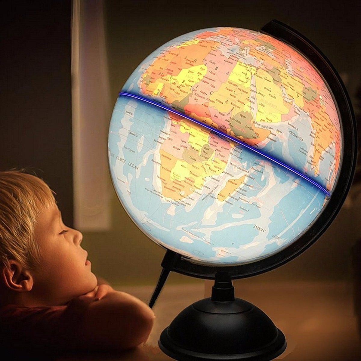 32cm Electric LED Light World Globe Earth Map Teach Education Geography Toy Terrestrial Tellurion Globe home Office Desk Decor
