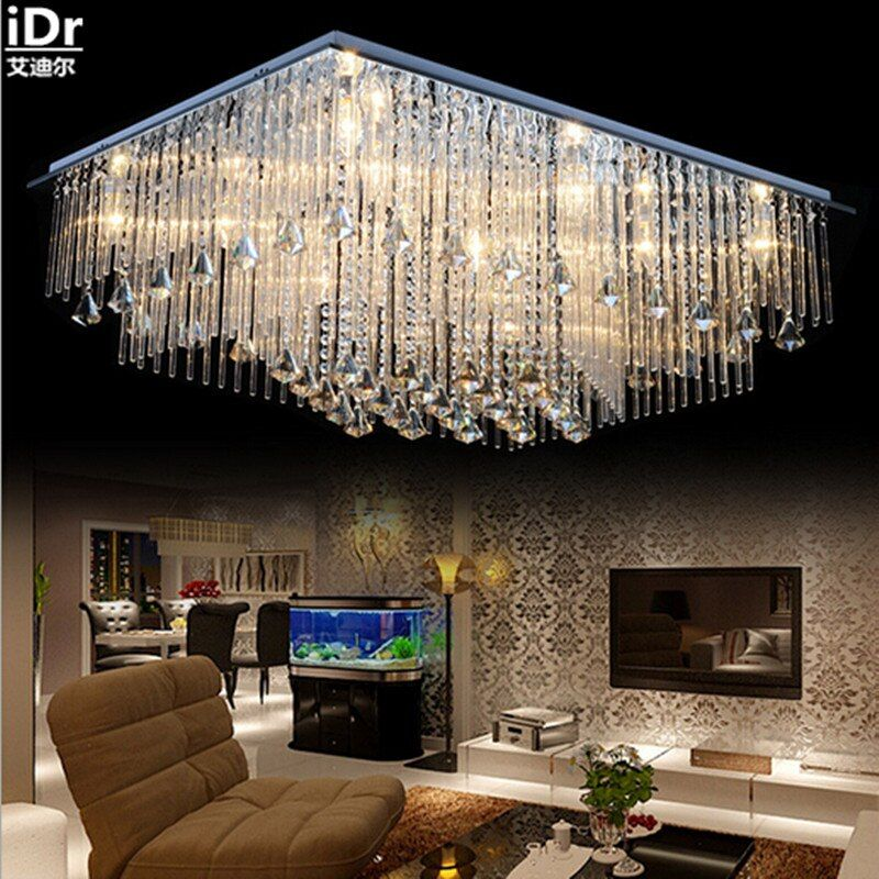 the new listing Upscale atmosphere crystal lamp rectangular living room lights led lamps lighting modern bedroom Ceiling Lights