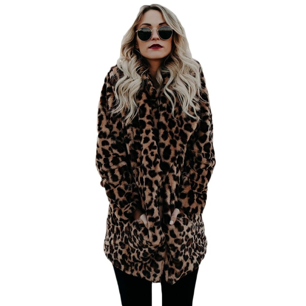 YJSFG HOUSE High quality Luxury Faux Fur coat for Women Coat Winter Warm Fashion Leopard artificial fur Women's Coats Jacket