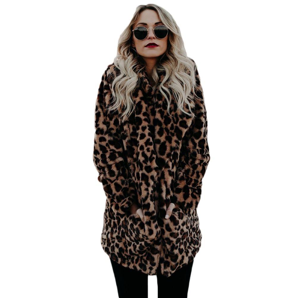 YJSFG HOUSE High quality Luxury Faux Fur coat for Women Coat Winter Warm Fashion Leopard artificial fur Women's Coats Jacket