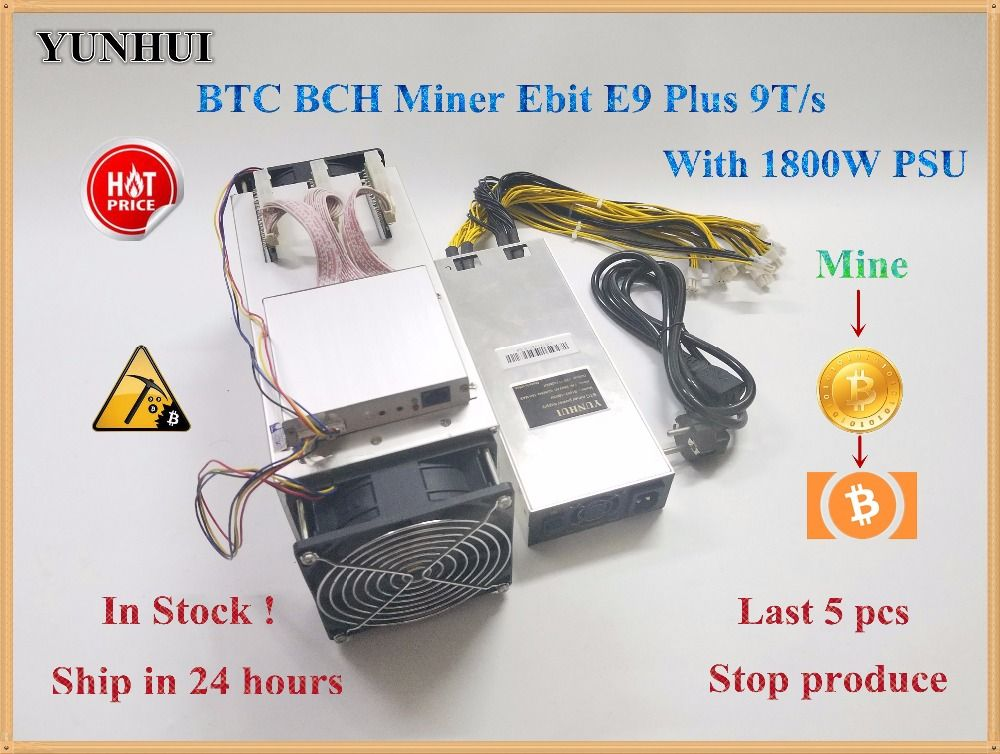 14nm Asic Miner BTC Miner USED Ebit E9 Plus 9T  (with psu) low price than S9 good economy miner .