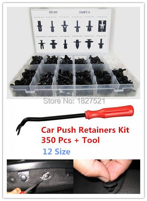 350pcs Auto Car Push Retainer Pin Rivet Trim Clip Panel Moulding Assortment+Tool for /BMW /Benz /Ford /Toyota /Honda /Nissan