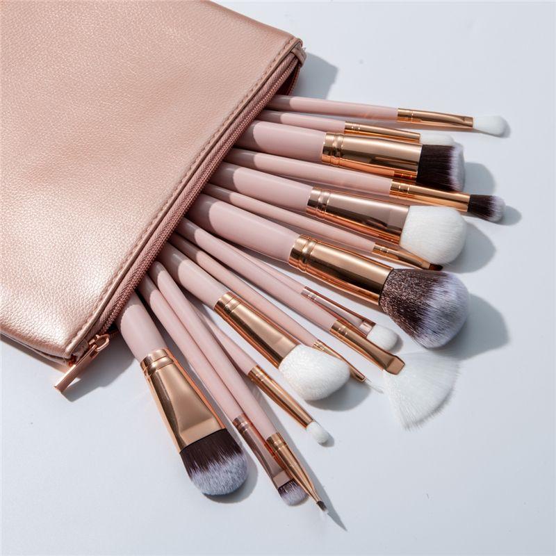 Excellente Qualité 15 pcs Pinceaux de Maquillage Ensemble + Étui En Cuir Reals Fondation Fard À Paupières Poudre Blush Brosse Maquiagem Furnature Techniqueing