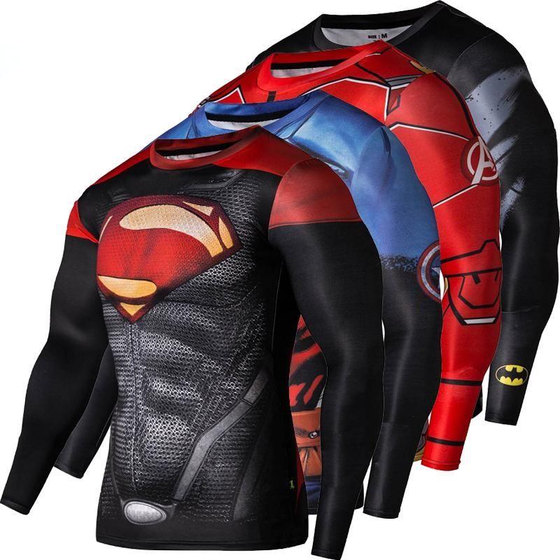 2017, Новая мода Фитнес сжатия рубашка Для мужчин Косплэй мужской Кроссфит плюс Размеры Бодибилдинг Для мужчин футболка 3D с принтом Супермен ...