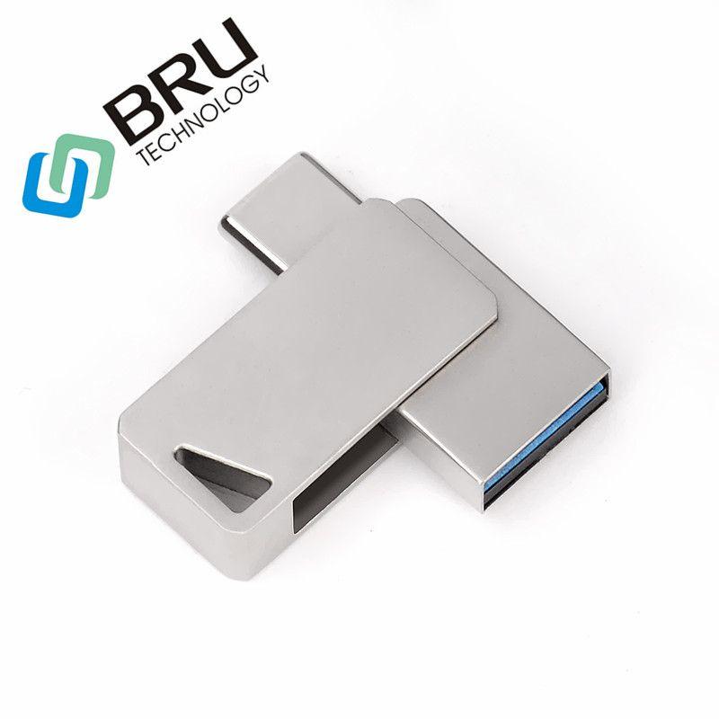 BRU 16GB32G64G OTG 3.0 clé usb Pour TYPE C Smartphone haute vitesse mini Pendrive OEM clé usb carte mémoire logo personnalisé