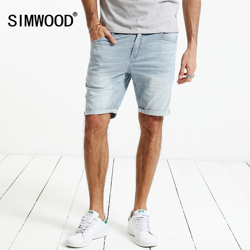 SIMWOOD 2018 New Summer Casual Shorts Hommes Coton Rayé Denim genou Longueur Jeans Vintage Rayé Marque Vêtements ND017004