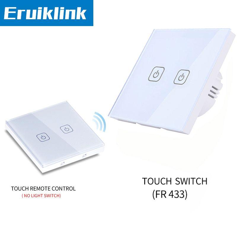Interrupteur tactile mural Standard EU/UK, 1/2/3 Gang 1 voie panneau en verre blanc télécommande tactile pour commutateur de lumière intelligente RF433