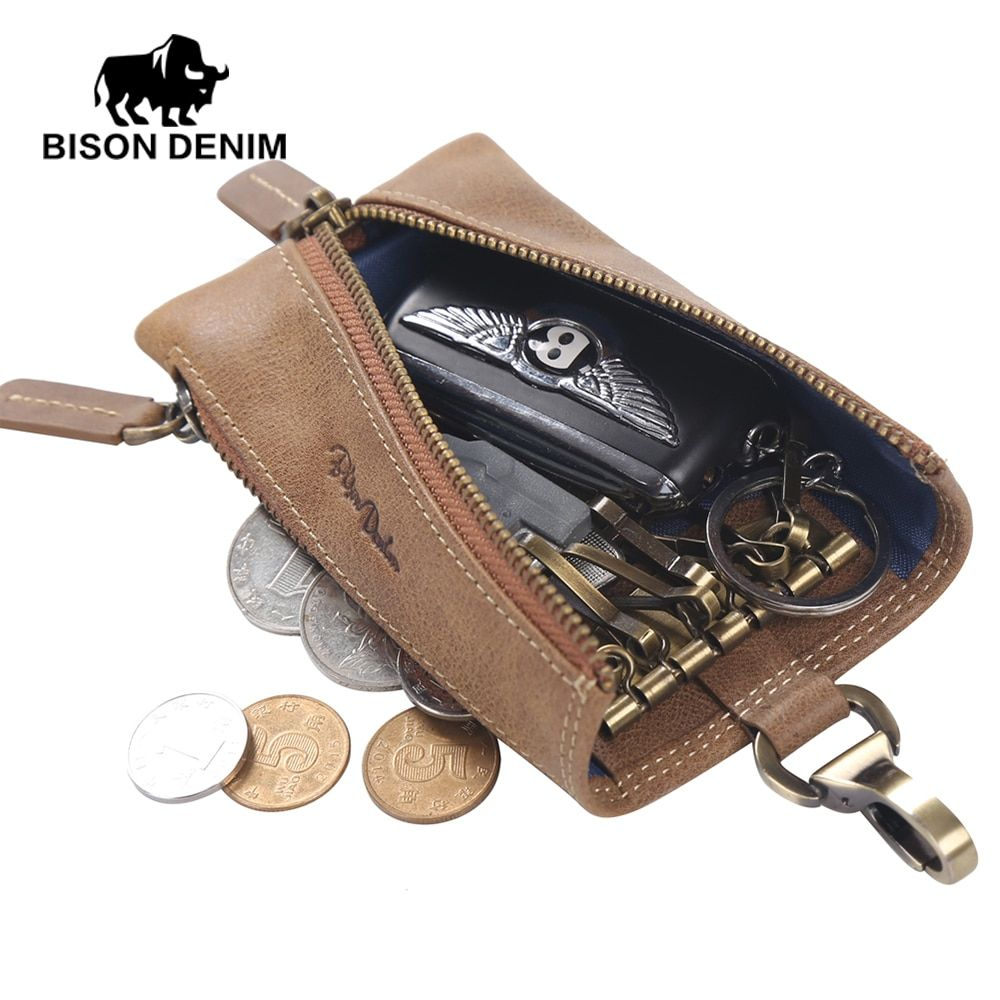 BISON DENIM Multifunctional Key Wallet Holder Leather Men/Women Keychain Bag Vintage Card Key Holder Portable Organizer W9342
