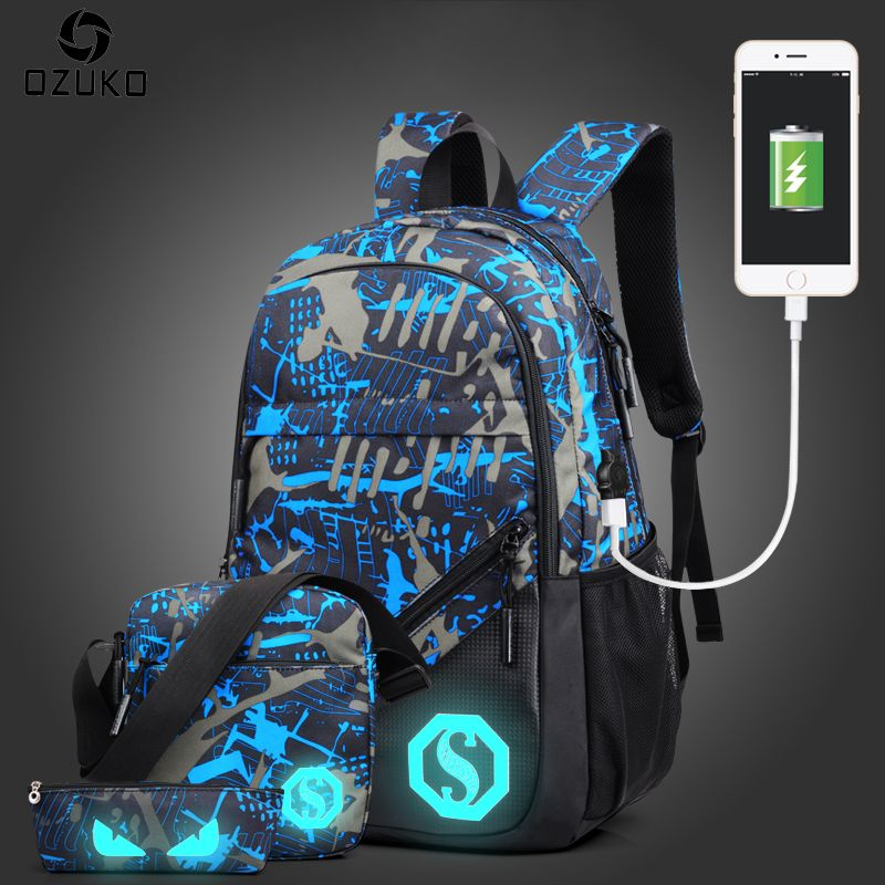 OZUKO Fashion Men's Backpack Luminous Students School Bags <font><b>External</b></font> USB Charge Laptop Backpacks Teenagers Casual Travel Mochila