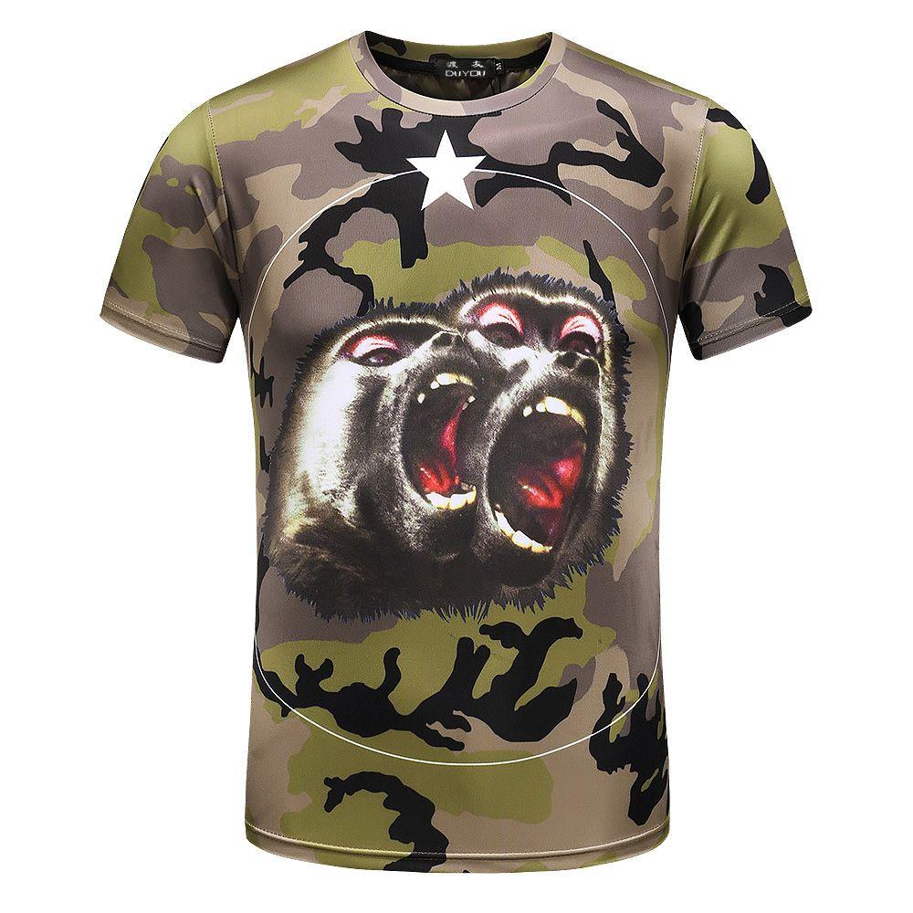 Men's Camo Orangutan Graphic MMA Muscle T-Shirt Men Brand Clothing Casual T-shirt Male Top Quality Tretch Tshirt