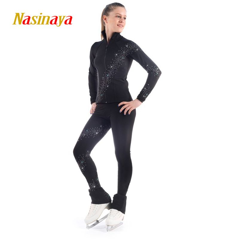 Costume Customized Ice Skating Figure Skating Suit Jacket And Pants Spiral Wide Rhinestone Warm Fleece Adult Child Girl Black