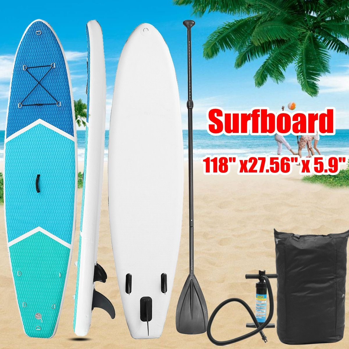 300*70*15cm inflatable surfboard Stand Up SUP Board Brett Surf aufblasbar paddle boat mit Repair material+Paddel