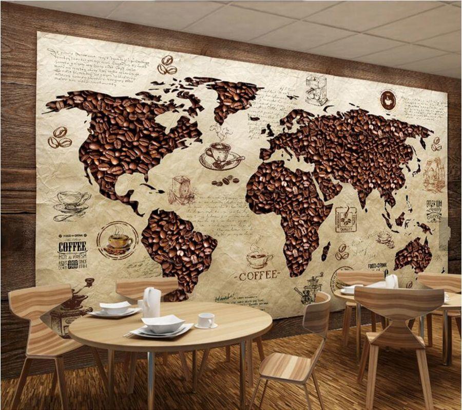 papel de parede Cafe world map Vintage wallpaper,coffee shop living room sofa TV wall bedroom restaurant bar 3d murals