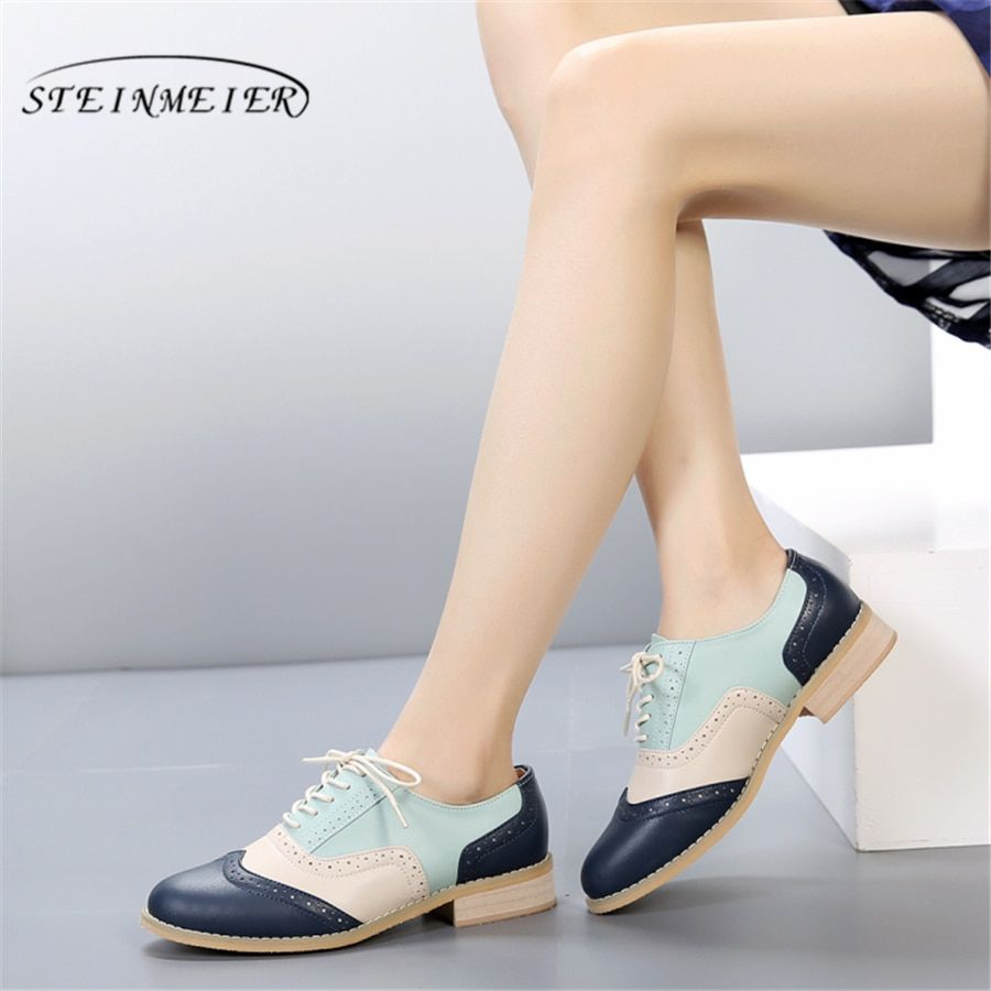 100% Genuine cow leather casual designer vintage lady flat shoes handmade oxford shoes for women with fur blue beige pink silver