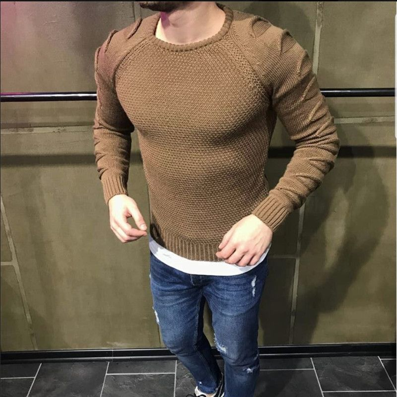 Sweater Men 2018 New Arrival Casual Pullover Men Slim Autumn Round Neck Hole Quality Knitted Brand Male Sweaters Size S-XL