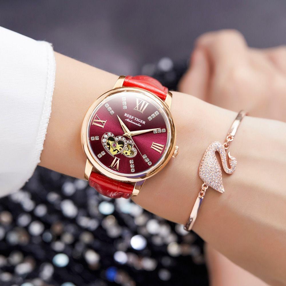 Riff Tiger/RT Top Marke Luxus Damen Uhr Rose Gold Rot Automatische Mode Uhren Liebhaber Geschenk Relogio Feminino RGA1580