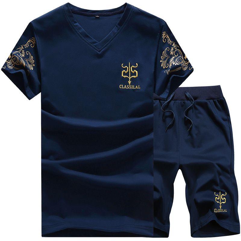 Mens Fitness Trainingsanzug Set Sommer Casual Sporting Anzug Männer Shorts Sets Kurzarm-shirt + Shorts Lässige Outwear Anzüge