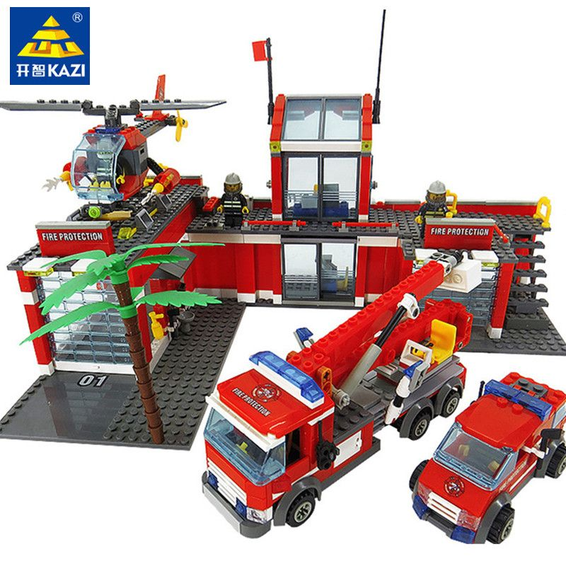 774pcs LegoINGs City Fire Station Building Blocks Sets Helicopter Fire Engine Fighter Truck Bricks Playmobil Toys for Children