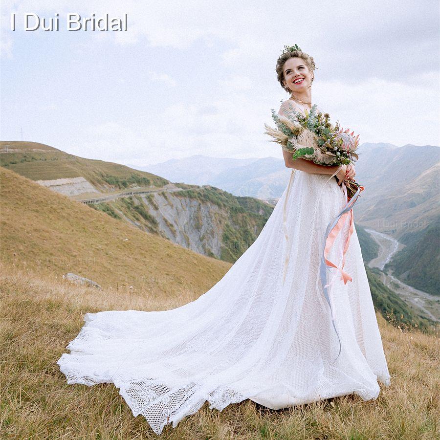Deep V sexy Vestidos de novia baja delantera y trasera de la perla con cuentas de cristal Encaje fábrica del vestido nupcial por encargo foto real