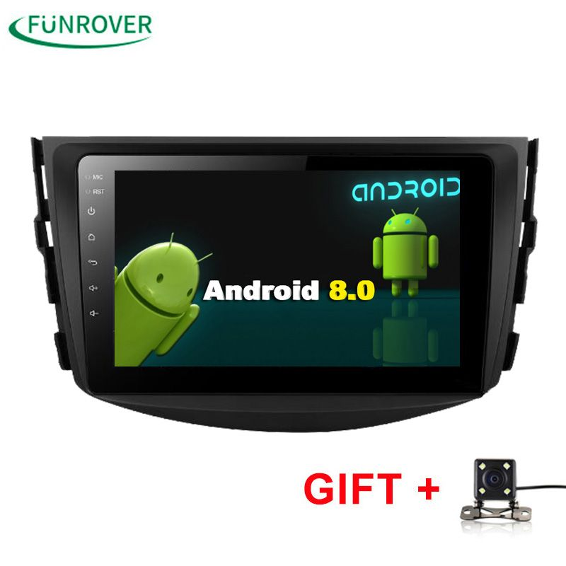 Funrover NEW !!!Android 8.0 Car dvd Player For Toyota RAV4 Rav 4 2007 2008 2009 2010 2011 2 Din 1024*600 Car dvd gps WIFI RDS BT