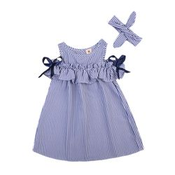 2018 new Hot Summer Toddler Kids Baby Girls lovely Clothes Blue Striped Off-shoulder ruffles Party Gown Formal Dresses