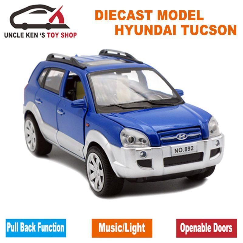Фирменная Новинка Hyundai старый Tucson Весы литой модели автомобилей, из Металла Игрушечные лошадки подарок для детей открывающиеся двери/задер...