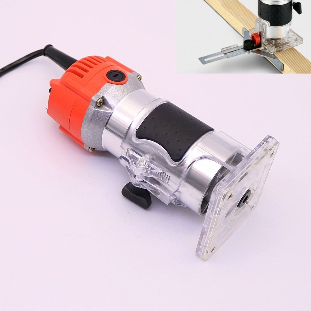 220V Wood Trim Router 6.35mm Collect Diameter Electric Hand Trimmer Woodworking Laminate Palm Router Joiner Tool