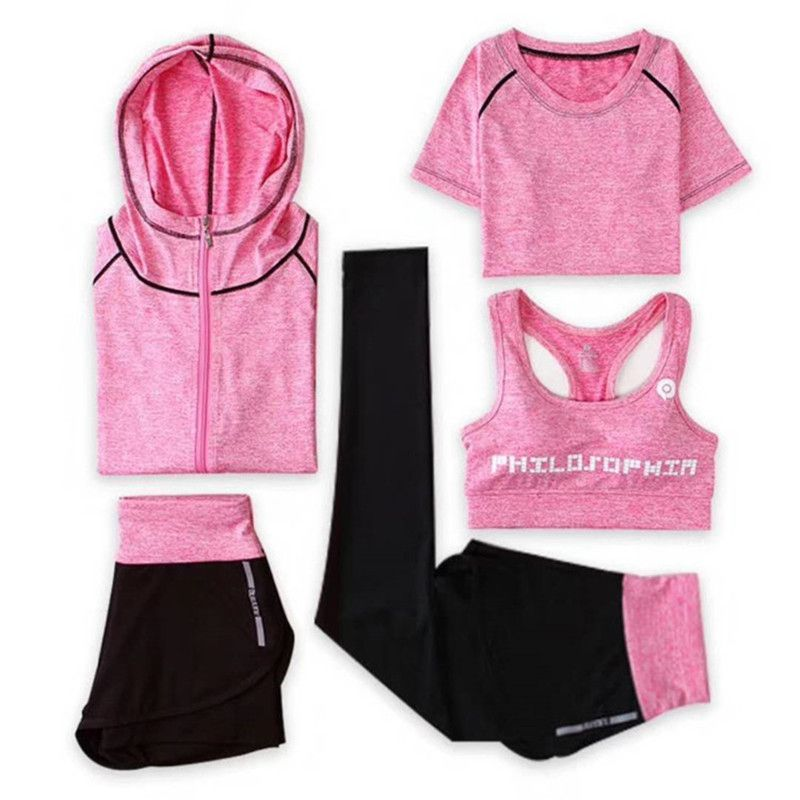 New Yoga Suits Women Gym Clothes Fitness Running Tracksuit Sports Bra+Sport Leggings+Yoga Shorts+Top 5 Piece Set Plus Size M-3XL