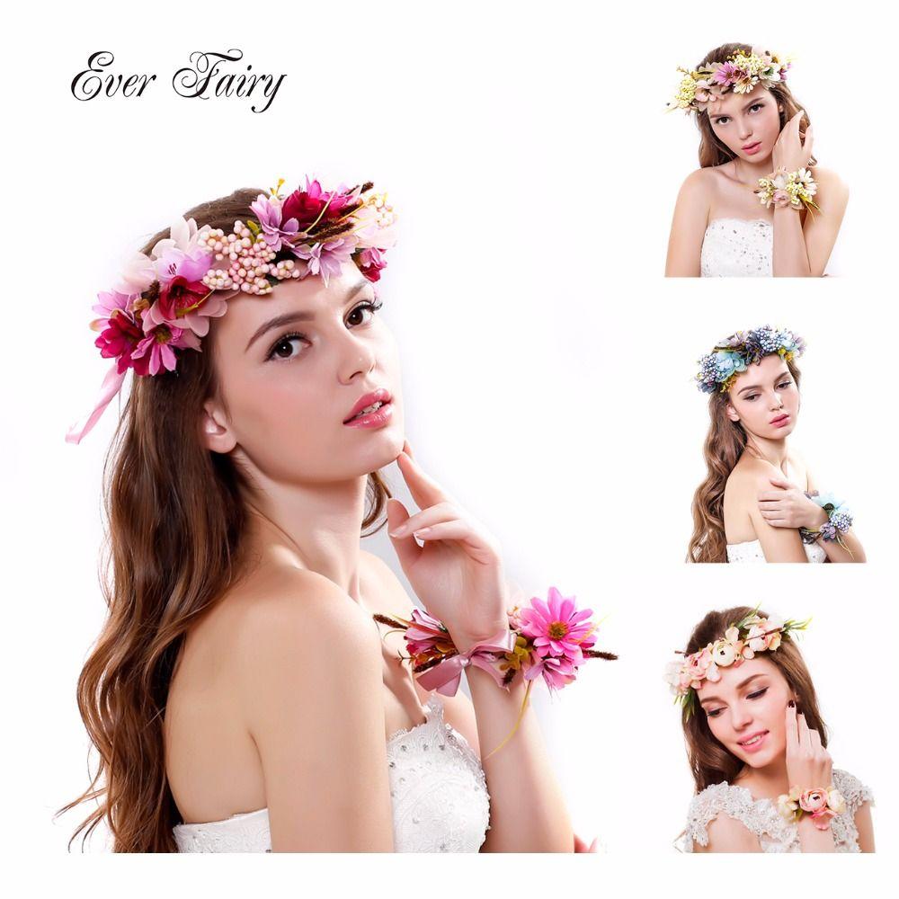 EVER fée femmes mariage Rose fleur bandeau couronne fleur Bracelet ruban réglable à la main mariée bandeau accessoires