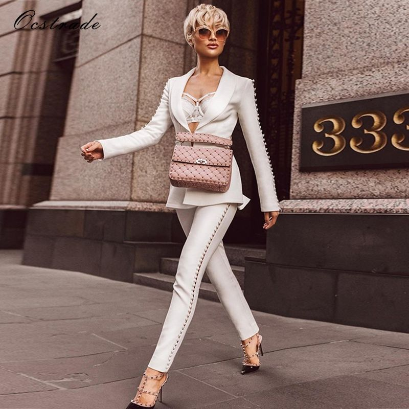 Ocstrade Christmas New Year 2018 Elegant Formal White Sets Women's Suit Pants and Jacket Runway Fashion Ladies Pantsuit Costumes
