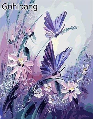 Minion Papillon DIY Peinture Par Numéros Peints À La Main Image Peinture À L'huile Abstraite Sur Linge De Maison Pour Salon