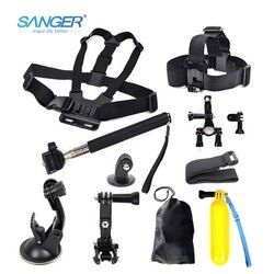 SANGER for Gopro Accessories AEE Head Chest Mount Floating Monopod for Xiaomi Yi Action Camera Go Pro Hero 5 4 3+ SJCAM sj4000