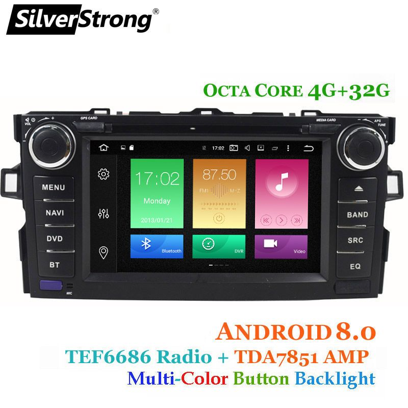 SilverStrong 4G RAM Android8.0 OctaCore Car DVD Player For Toyota Auris Hatchback Car 2din raido gps Navigation tape recorder