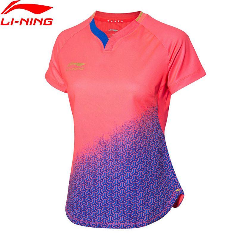 Li-Ning Frauen Tischtennis Wettbewerb Anzug für Nationalen Team T-Shirt ZU TROCKEN Atmungsaktive Futter Sport T AAYP072 WTS1503