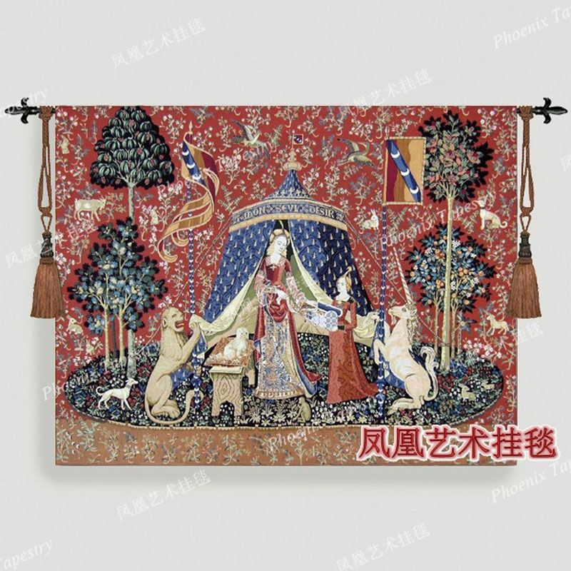 Belgium woven home textile series-noblewoman 116X 139cm Medium tapestry wall hanging medieval products H105