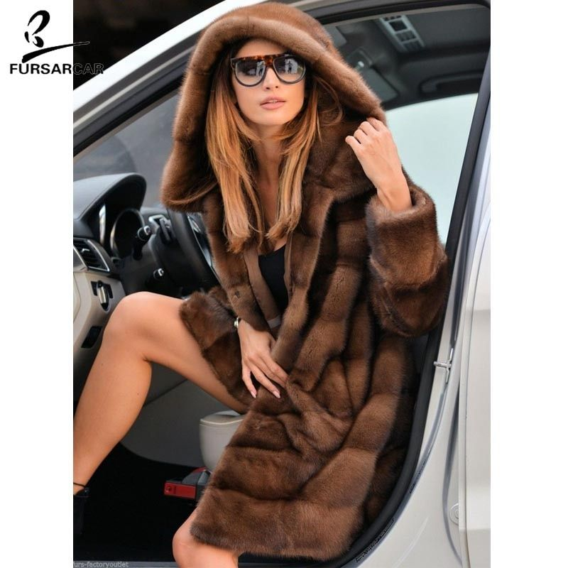 FURSARCAR Voll Pelt Luxury Real Nerz Pelzmantel Frauen Mit Großen Pelz Haube Mode Winter Warme Jacke Weibliche Nerz mantel