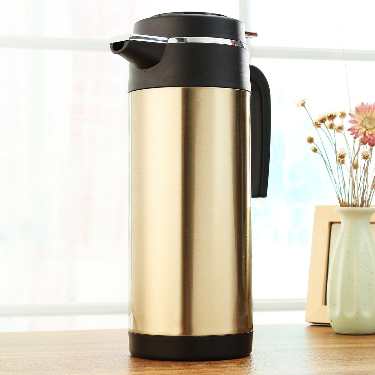 KROAK 1200ml HOT 12/24V Car Travel Auto Stainless Steel Electric In-Car Kettle Travel Heating Water Bottle