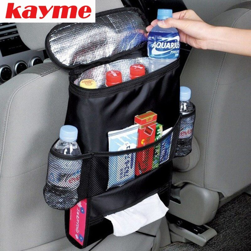 Kayme new multifunction car organizer back seat cool bag insulated auto pocket for children drink holder with mesh storage bag