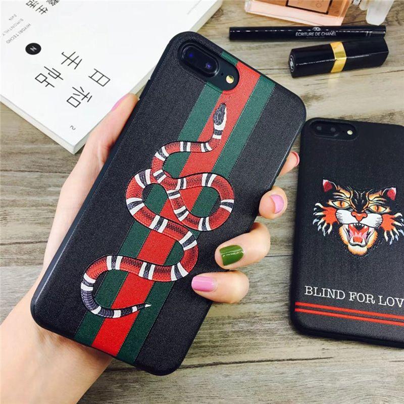 Heißer Verkauf Für iphone X Silikon Embroidere Abdeckung Luxus Grid Relief schlange Weiche Telefonkasten Für iphone 6 6 plus 7/8 plus Ausgestattet Fall