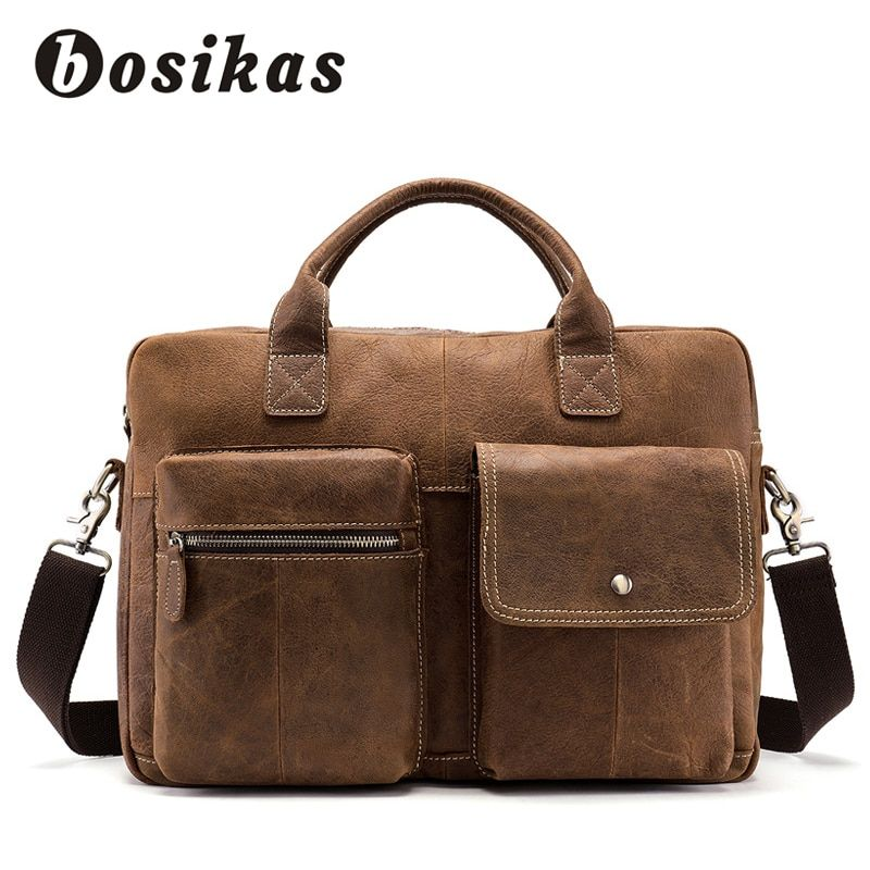 BOSIKAS Men Briefcase Fashion Briefcases Handbag Men's Bag for Document Leather Zipper Shoulder Genuine Leather Laptop Bag
