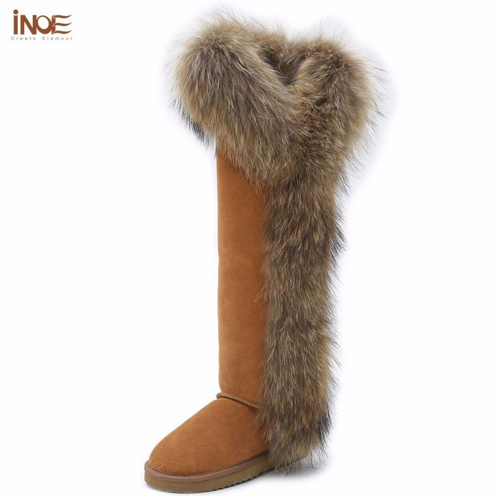 INOE mode stil große fuchs pelz hohen oberschenkel frauen winter schnee stiefel für frauen winter schuhe kuh wildleder leder lange stiefel nicht-slip