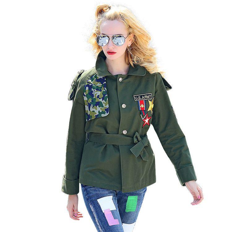 2017 Women embroidery Jacket Coats Punk Baseball Military Jackets Ruffles Basic Fashion Ladies College Fringe Boho Windbreakers