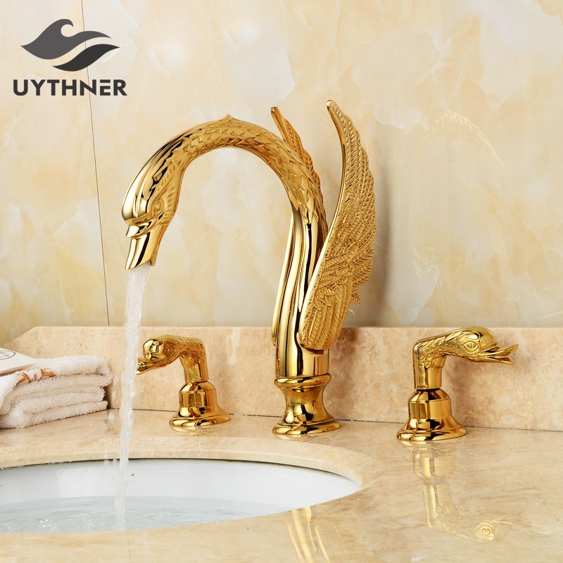 Newly Luxury Gold Plate 3Pcs Bathroom Sink Faucet Basin Mixer Tap Swan Style Vessel Faucet 2 Handles Gold Polished