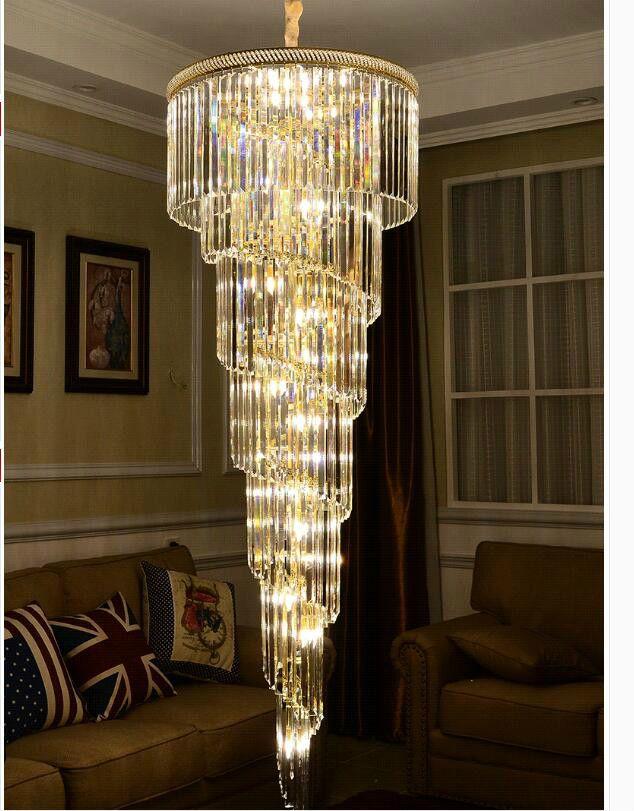 D550mm H1800mm Goldene Farbe E14 LED Moderne Hotel Kristall Kronleuchter Anhänger Lampe Led-lampe Hotel Kronleuchter AC 100% Garantiert