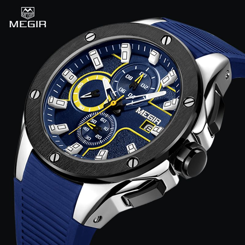 MEGIR men fashion casual watch waterproof chronograph sports military wristwatches silicone strap quartz watch relogio masculino