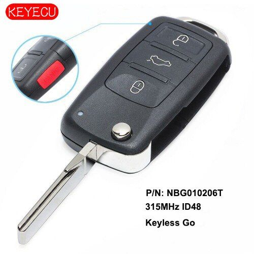 KEYECU Remote Key 315MHz ID48 Chip Fob Ersatz für Volkswagen 2011-2017 (Modelle mit Prox) p/N: NBG010206T