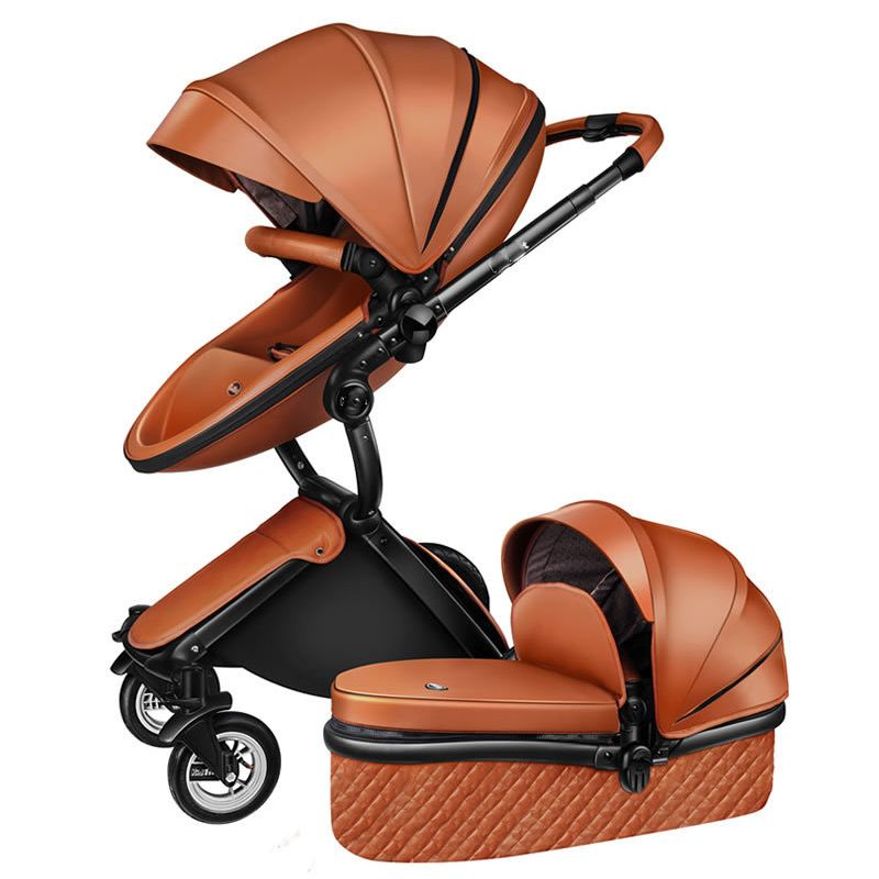 Free Ship! No Tax Luxury 3 in 1 Baby stroller Brand baby PU Leather Pram EU safety Car Seat Bassinet newborn Aulongift