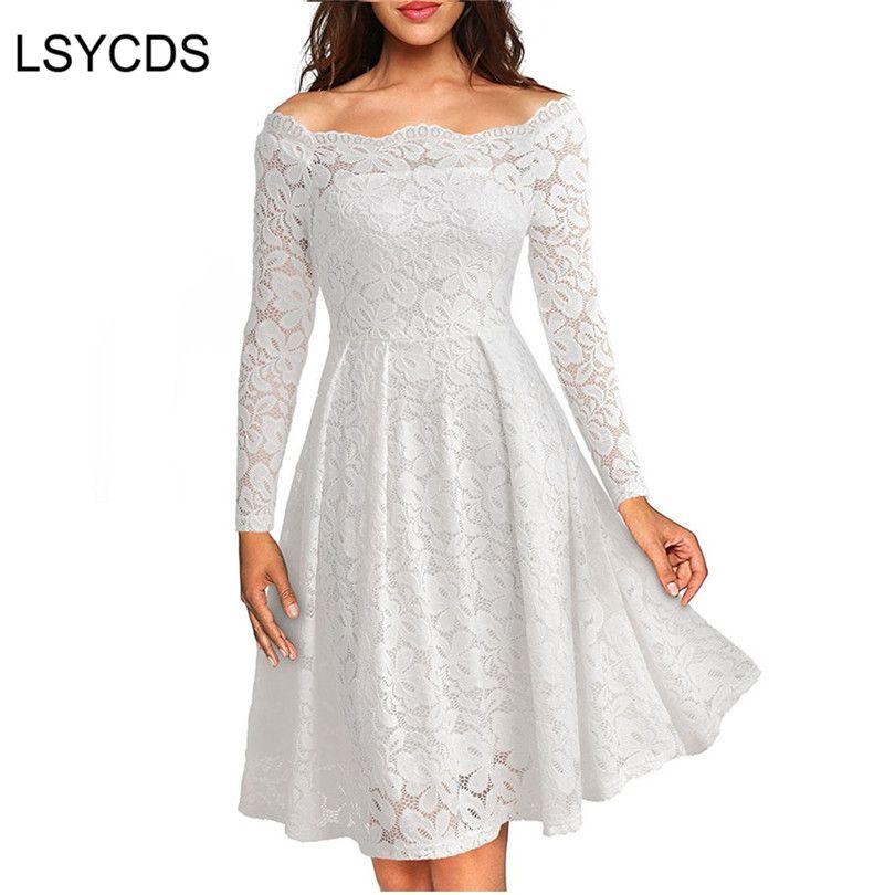 Femme robes 2018 manches longues Slash cou tenue de fête de mariage décontracté a-ligne Sexy rouge noir blanc dentelle robe grande taille S-3XL