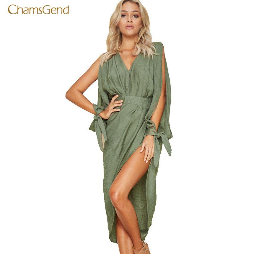 CHAMSGEND 2018 Fashion New Women Summer Dress Boho Sexy Mini Dress Evening Party Beach Dresses Casual Style <font><b>Female</b></font> Sundress