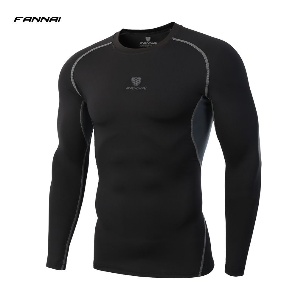 2017 New Men's Quick Dry Compression Shirt Long Sleeve Running T-Shirt Men Sport Jogging Fitness T Shirt Training Suit
